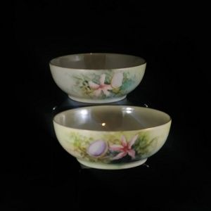 Two Antique Limoges Lusterware Hand Painted Bowls